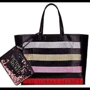 Victoria's Secret Sequin Striped Tote & Clutch
